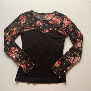 • Black shirt with floral mesh •